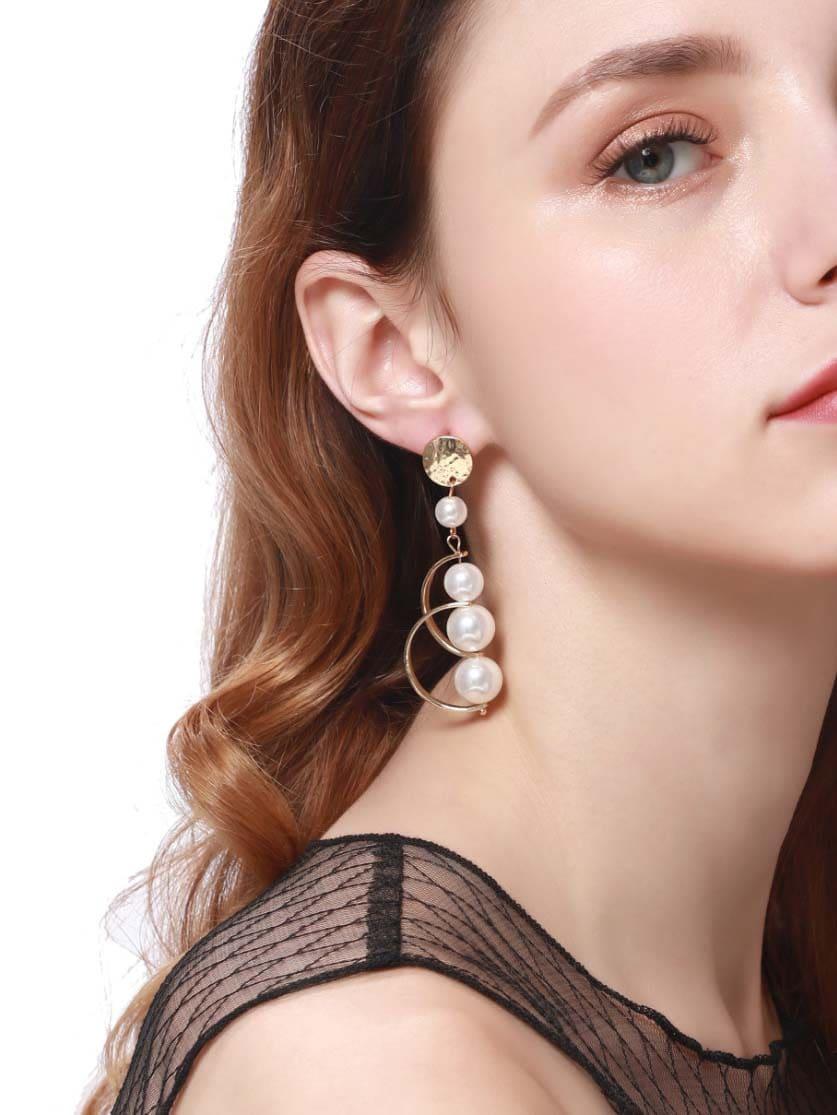 Half Circle Decorated Drop Earrings