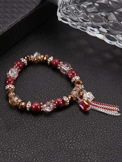 Chain Tassel Detail Beaded Bracelet