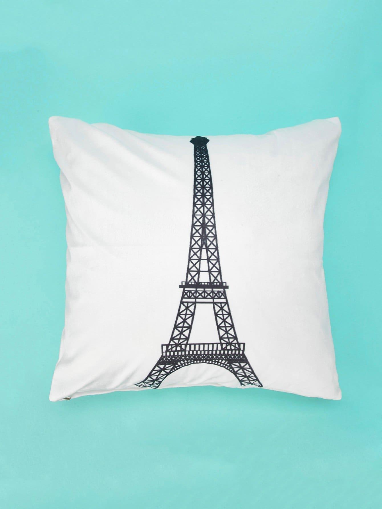 Купить Наволочка с рисунком Эйфелевы башня 1 шт, null, SheIn