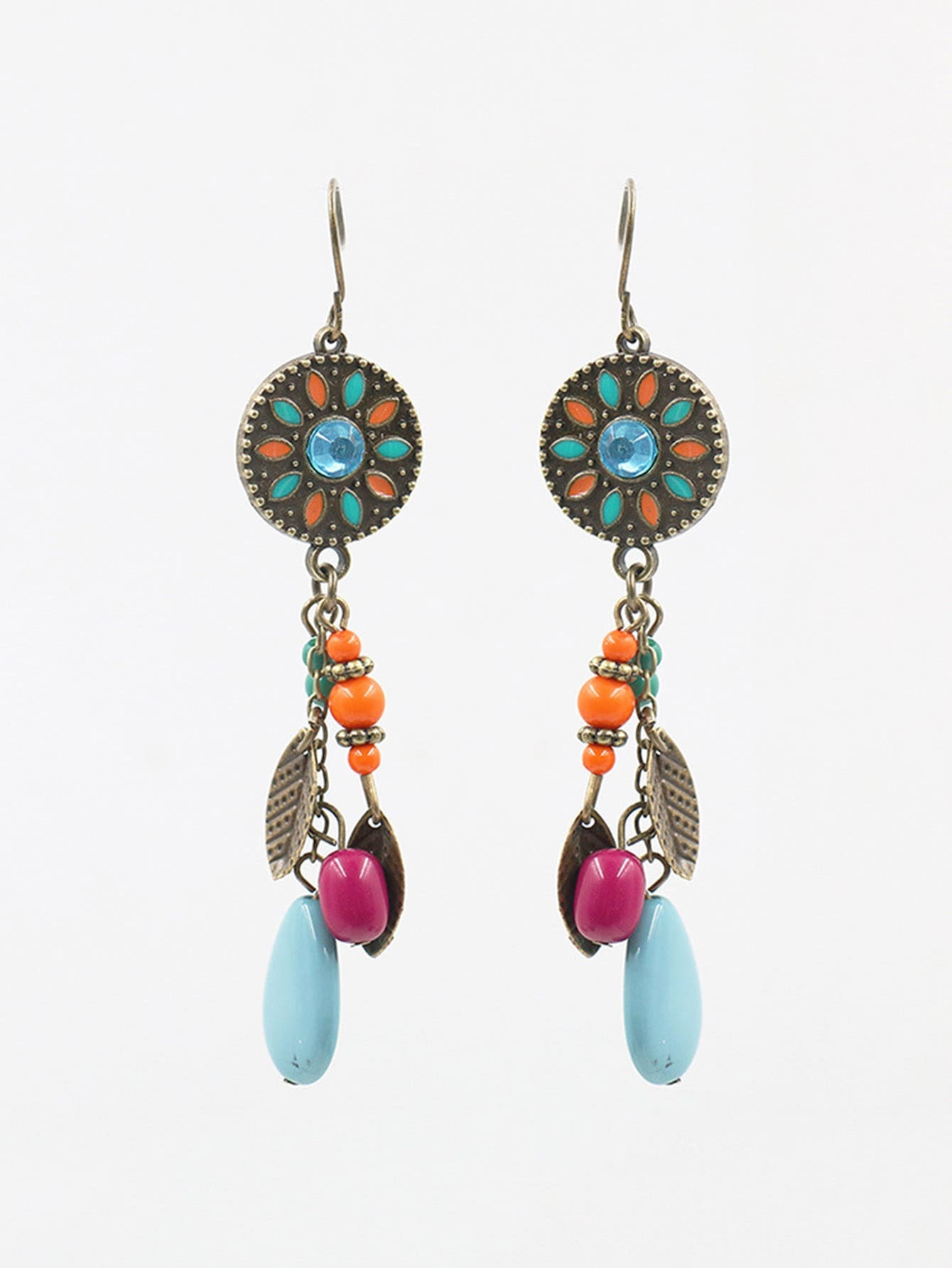 Color Block Round Drop Earrings