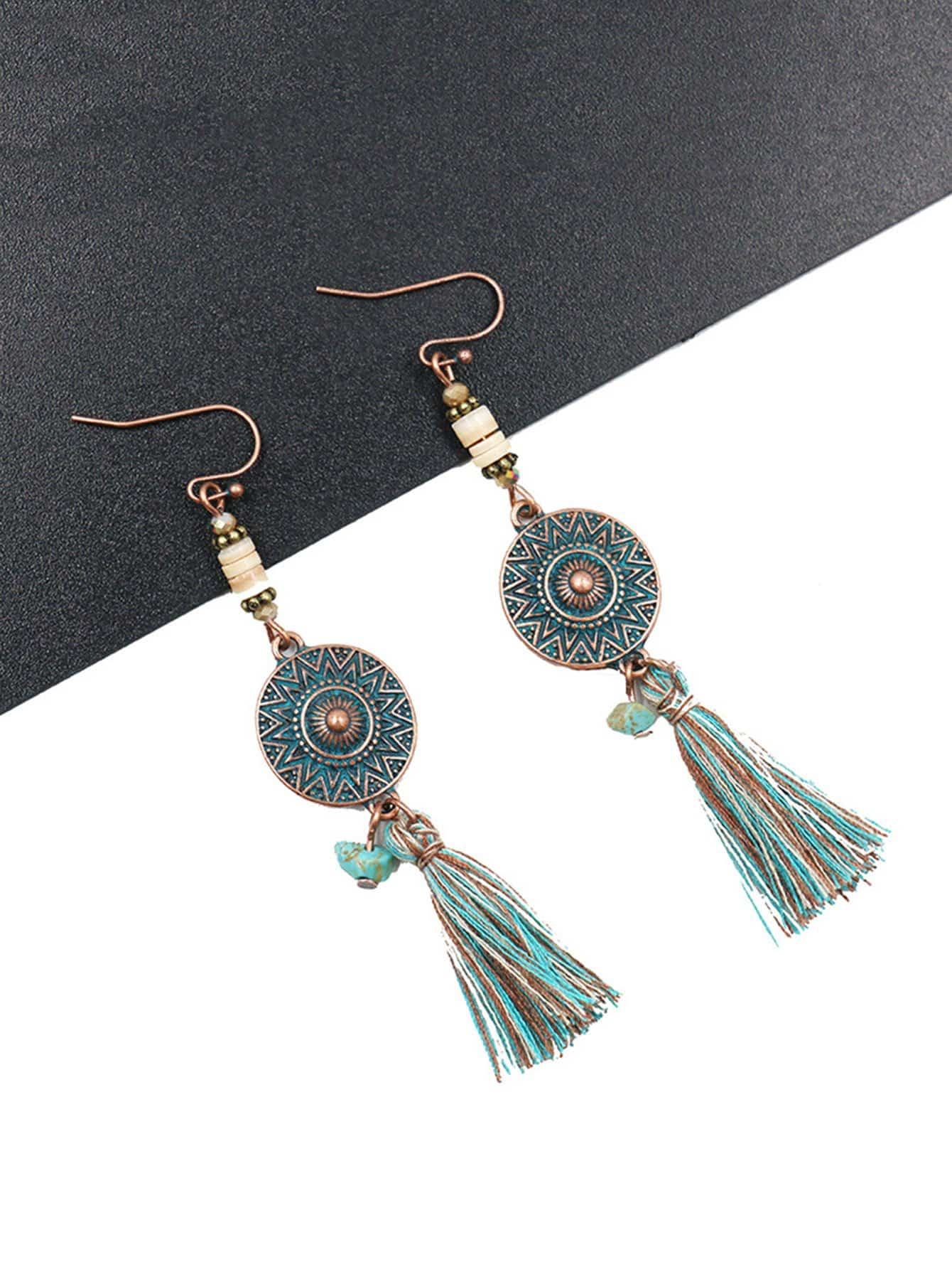 Color Block Tassel Drop Earrings