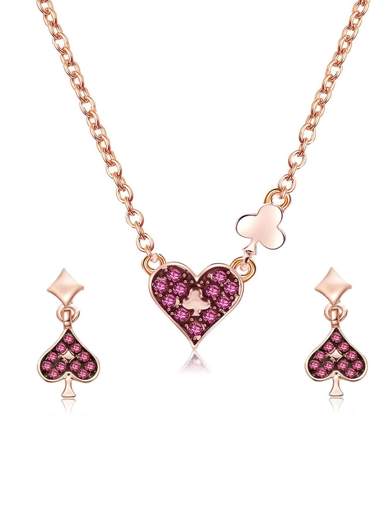Herz Anhänger Halskette & Ohrringe