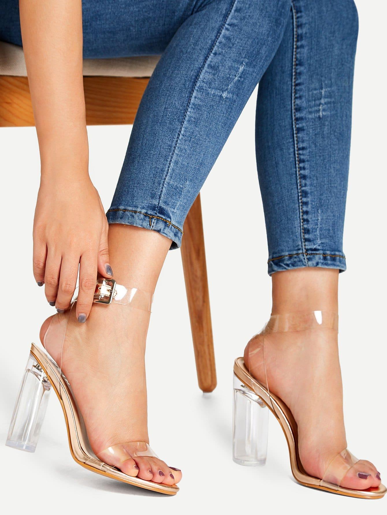 Купить Прозрачные туфли на высоких каблуках и с шнурками, null, SheIn
