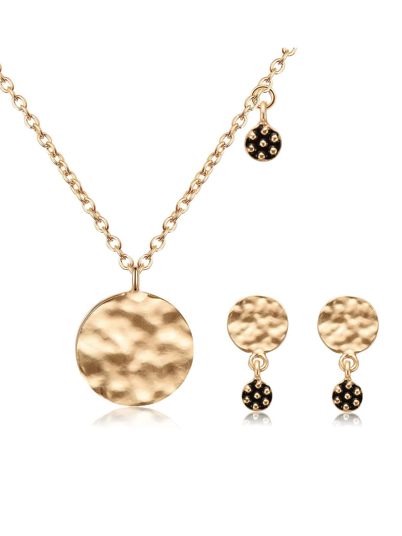 Textured Disc Pendant Necklace & Earrings
