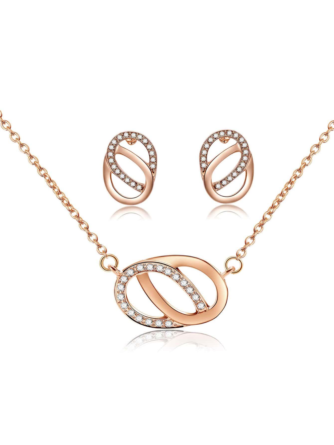 Link Kreis Anhänger Halskette & Ohrringe