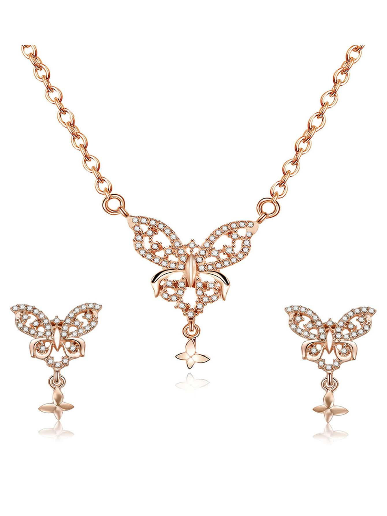 Schmetterling Anhänger Halskette & Ohrringe
