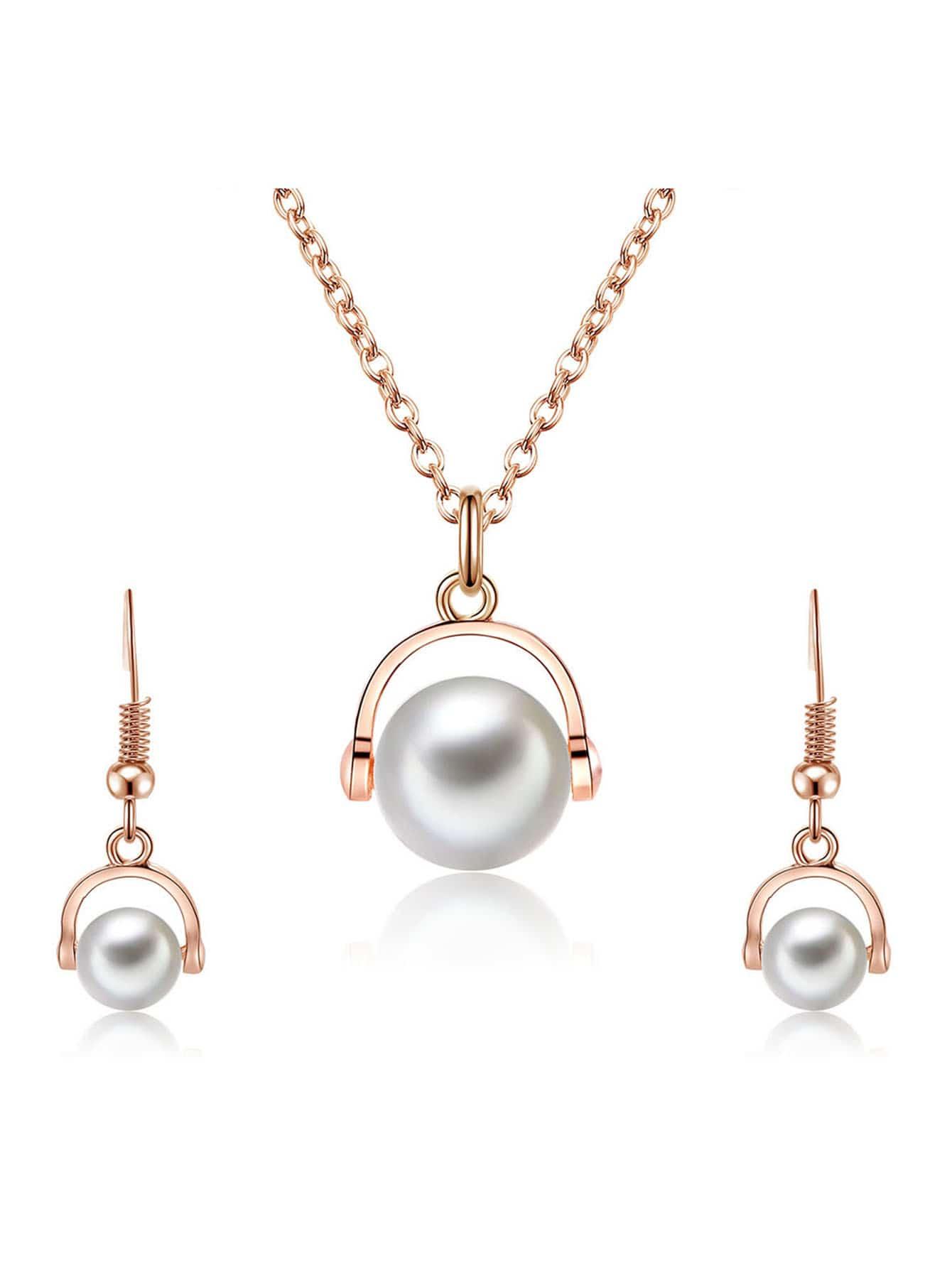 Faux Perle Anhänger Halskette & Ohrringe