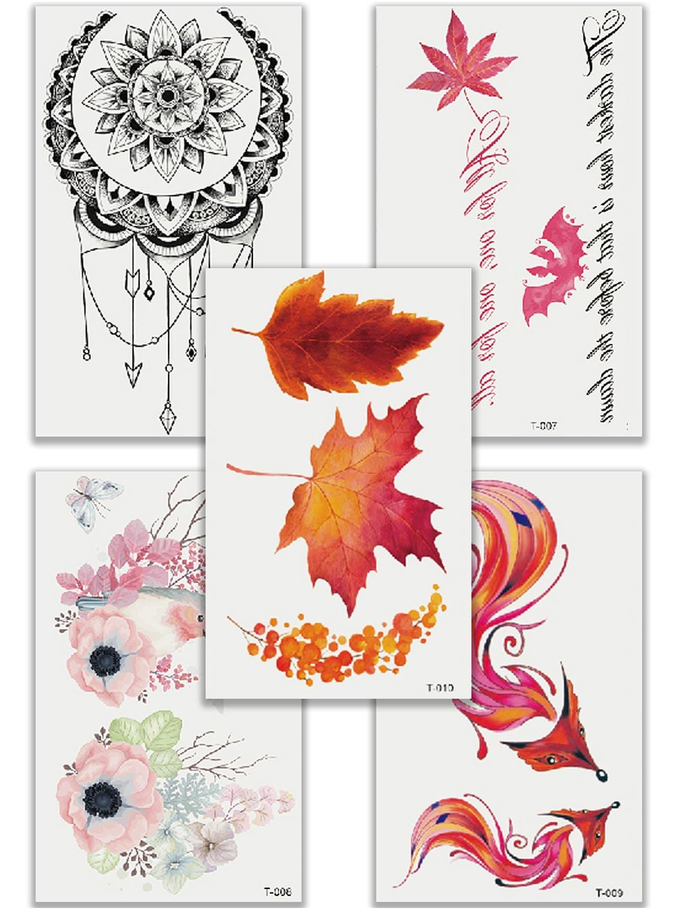 Купить Комплект татуировки с рисунками лисицы и листьев 5 шт, null, SheIn