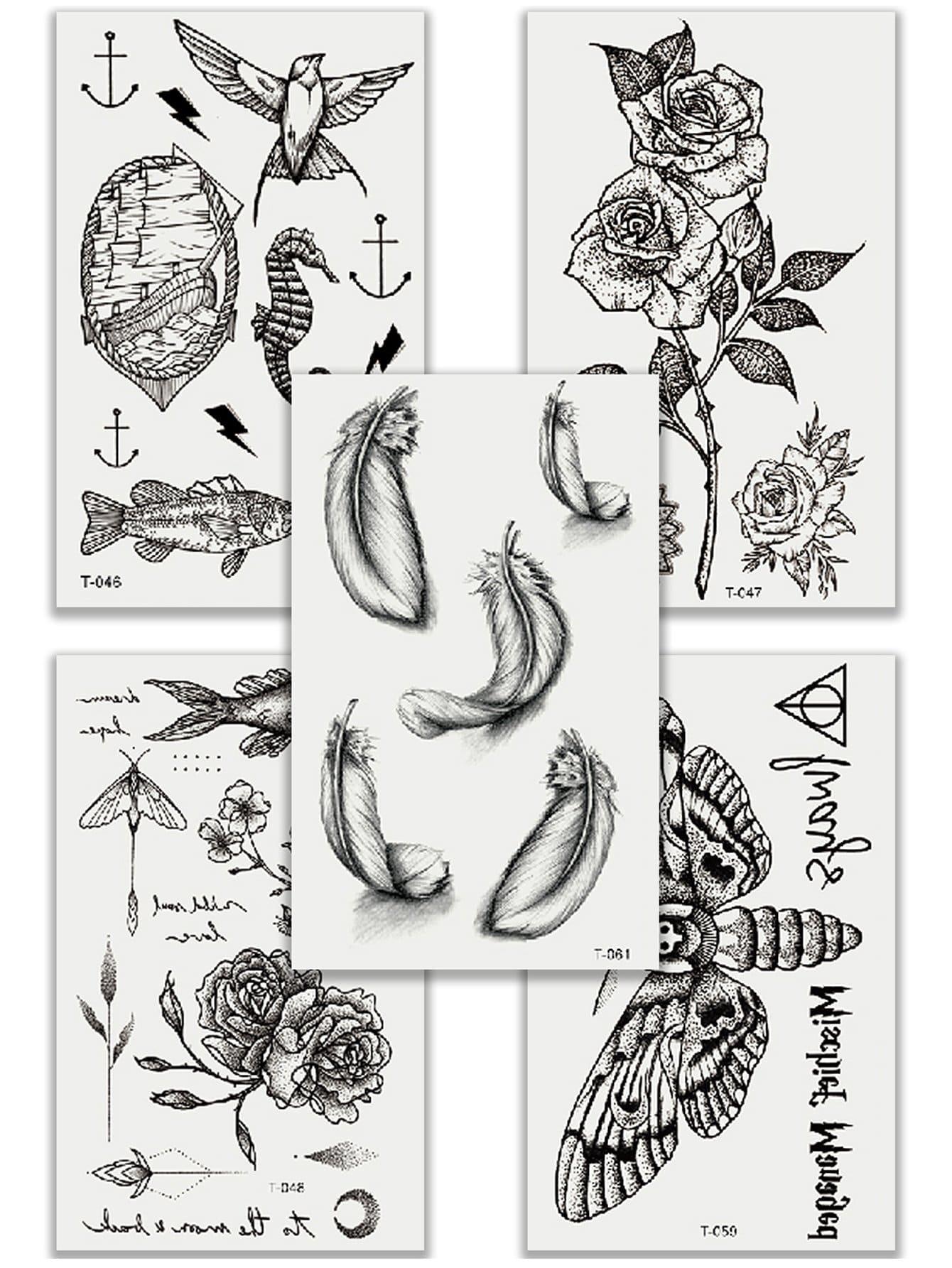 Купить Комплект татуировки с рисунками животных и перьев 5 шт, null, SheIn