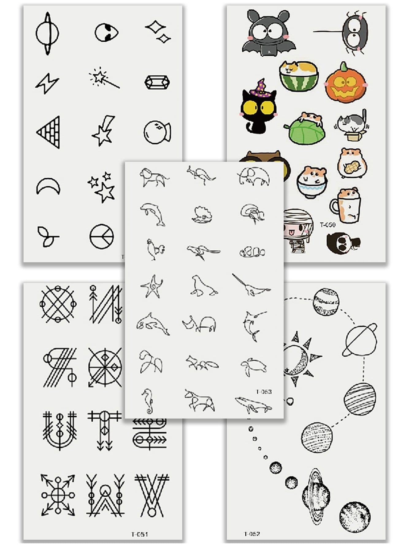 Купить Комплект татуировки с рисунками мультипликаций и растений 5 шт, null, SheIn