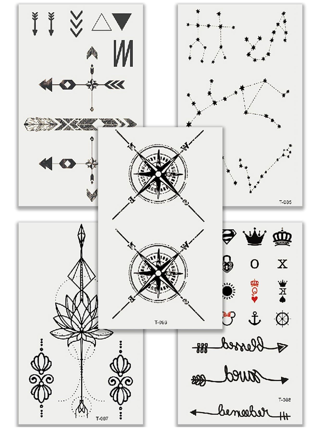 Купить Комплект татуировки с рисунками стрелы и лотосы 5 шт, null, SheIn
