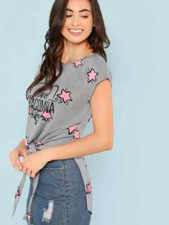 Knot Front Star Print Tee