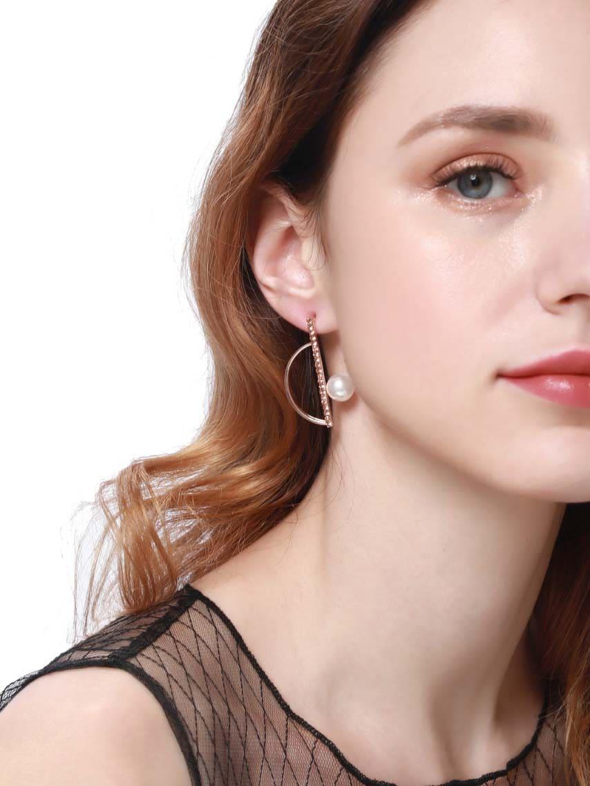 Half Circle & Bar Detail Stud Earrings