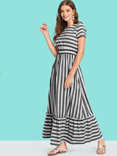 Ruffle Hem Pleated Striped Dress