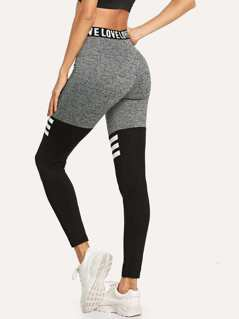 Waist Letter Cut and Sew Striped Leggings
