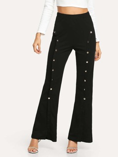 Double Button Front Flare Pants