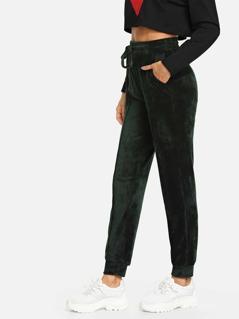 Elastic Waist Drawstring Velvet Pants
