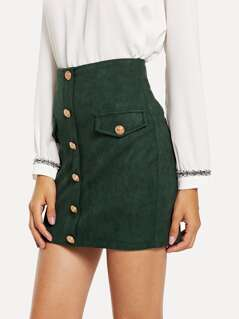 Button & Pocket Front Bodycon Skirt