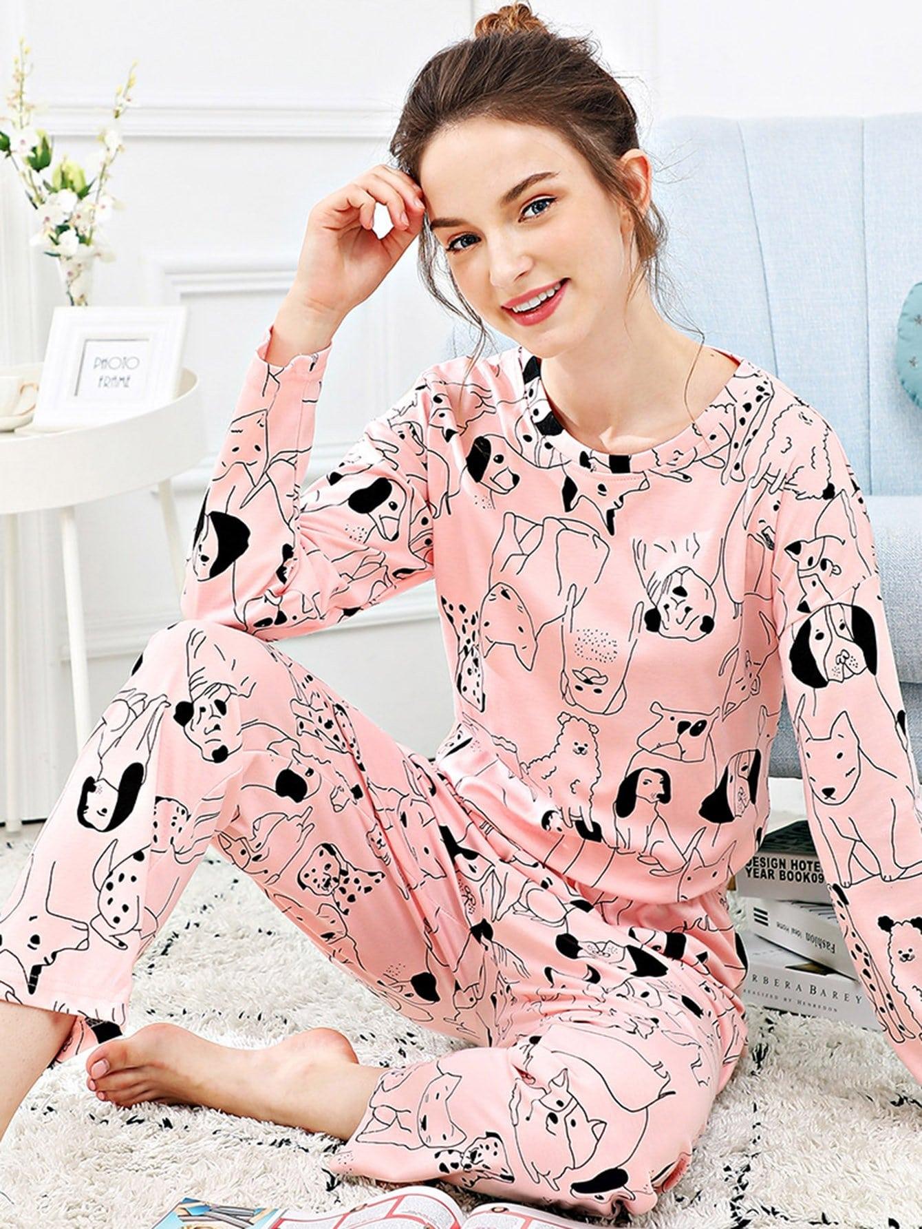 Купить Набор пижамы с рисунками собаки и букв, Tory, SheIn