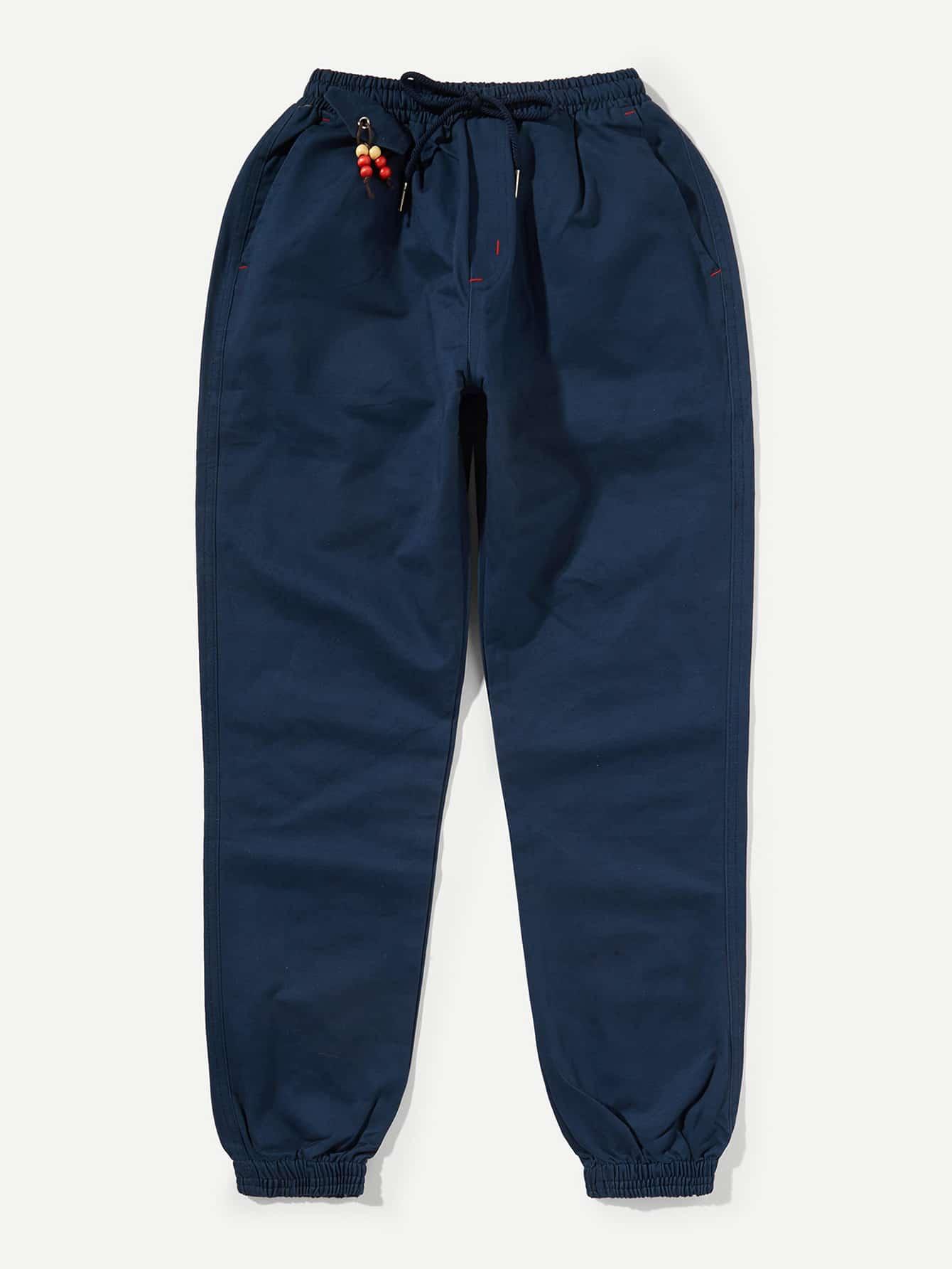 Купить Одноцветный на кулиске Темно синий Мужские брюки, null, SheIn