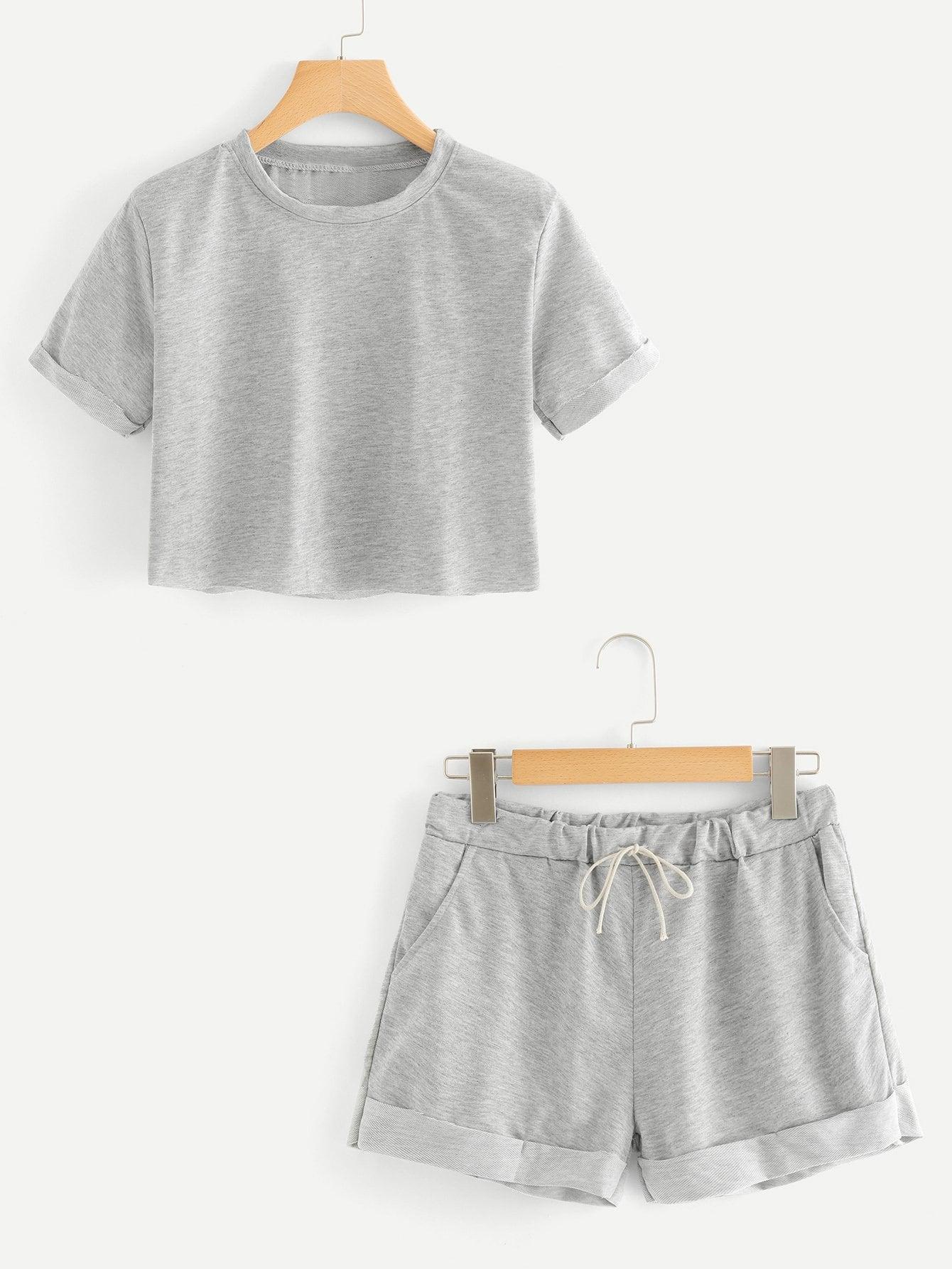 Купить Повседневный стиль Ровный цвет на кулиске Серый Комплект, null, SheIn
