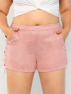 Faux Suede Lace Up Side Shorts