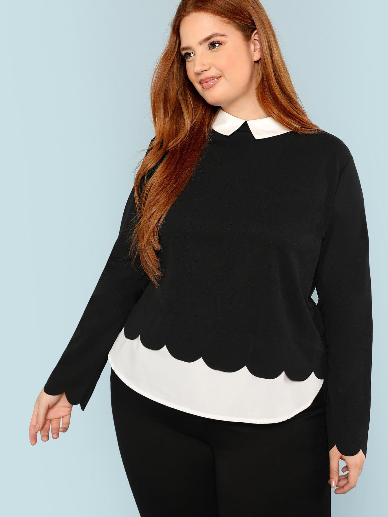 Купить Большая блузка с Симметрическим воротником и подол гребешка, Bree Kish, SheIn