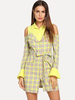 Button Front Cold Shoulder Plaid Dress