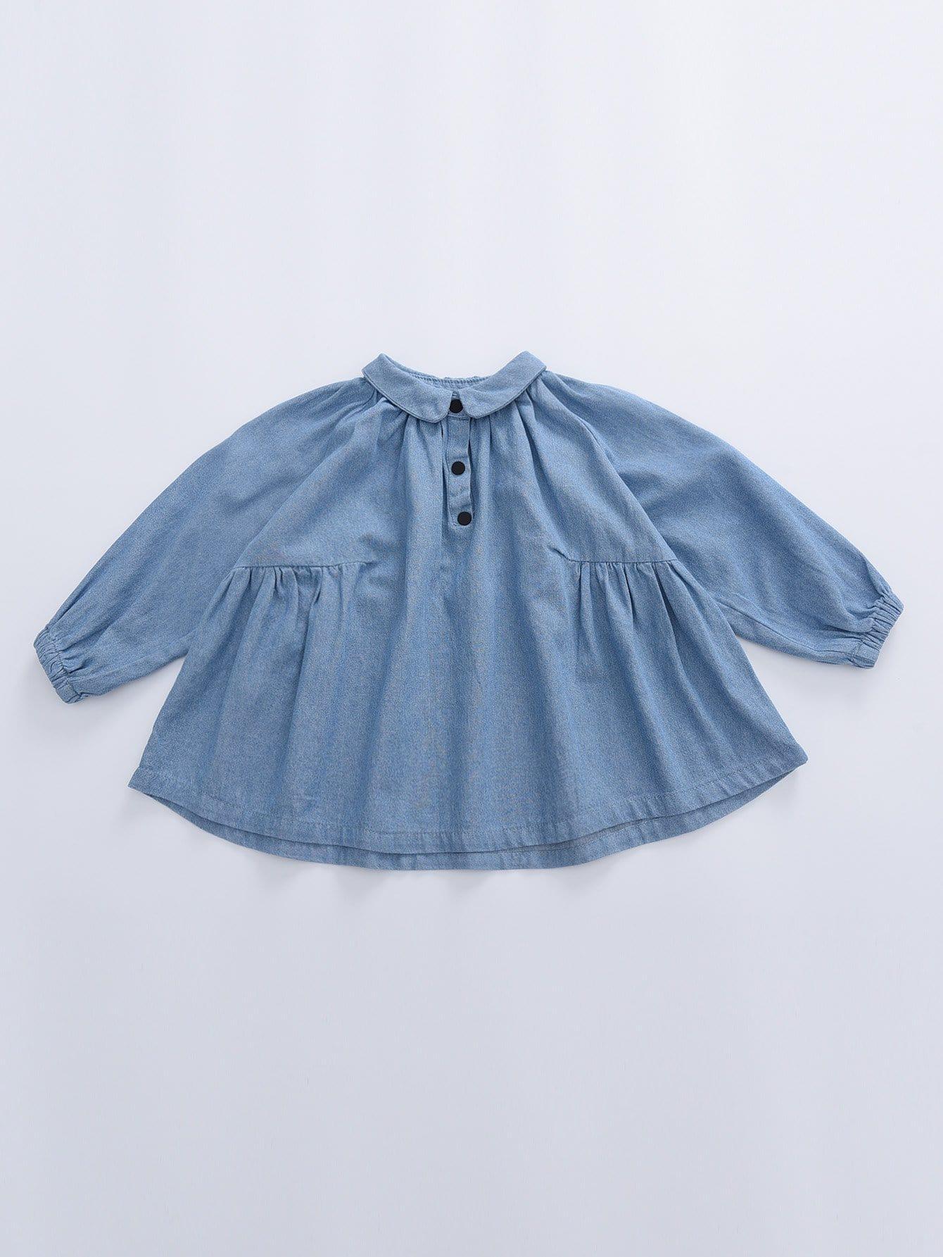Купить Повседневный Одноцветный Пуговица Синий Блузы для девочек, null, SheIn