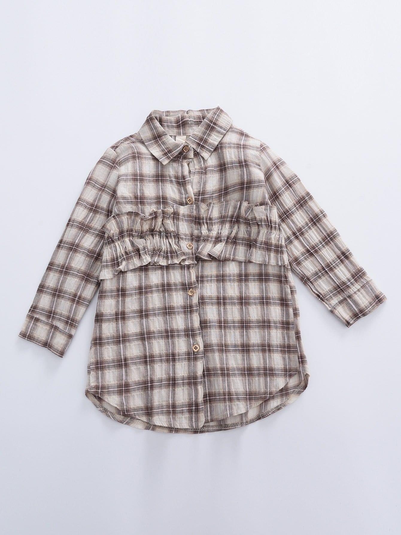 Mädchen Bluse mit Falten, gekrümmtem Saum und Plaid Muster