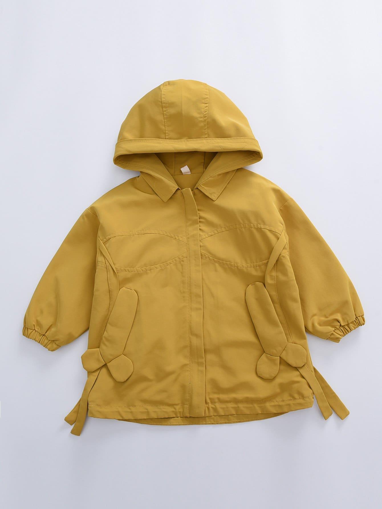 Купить Повседневный стиль Одноцветный с карманами пальто Желтый Куртки и пальто для девочек, null, SheIn