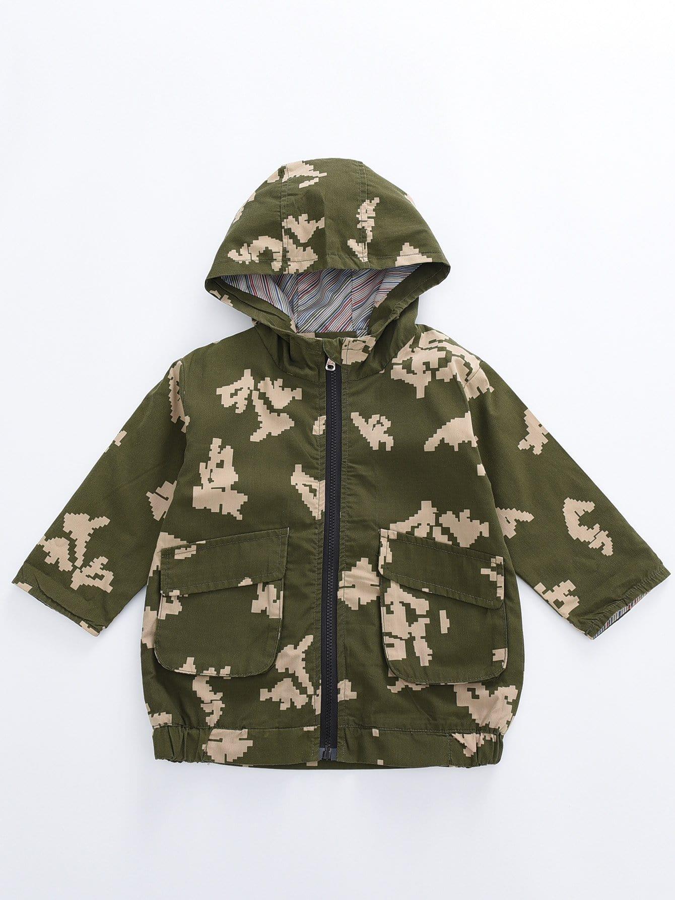 Купить Камуфляж с карманами Цвета хаки Жакеты и пальто для мальчиков, null, SheIn