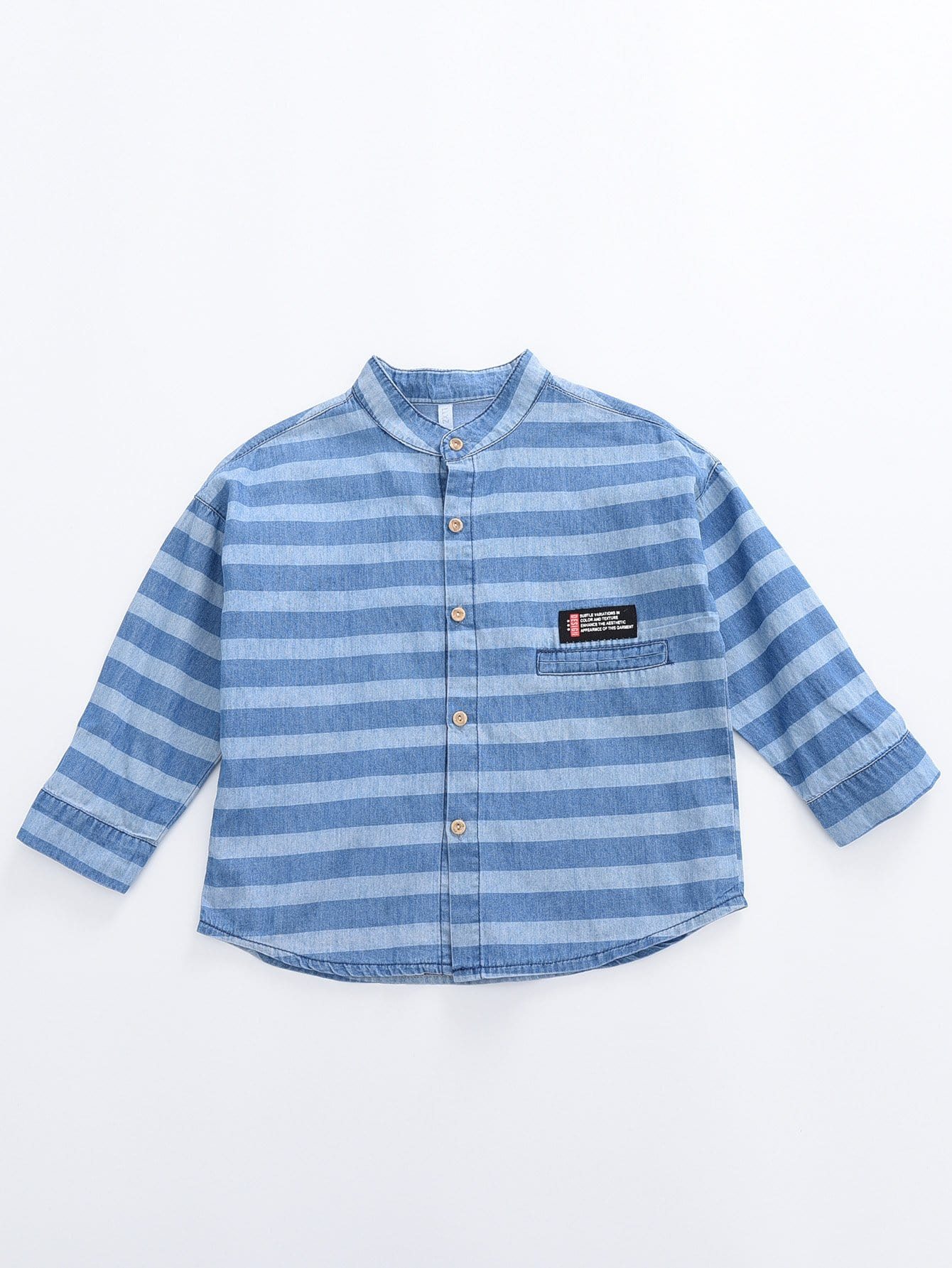 Boys Patched Detail Striped Shirt