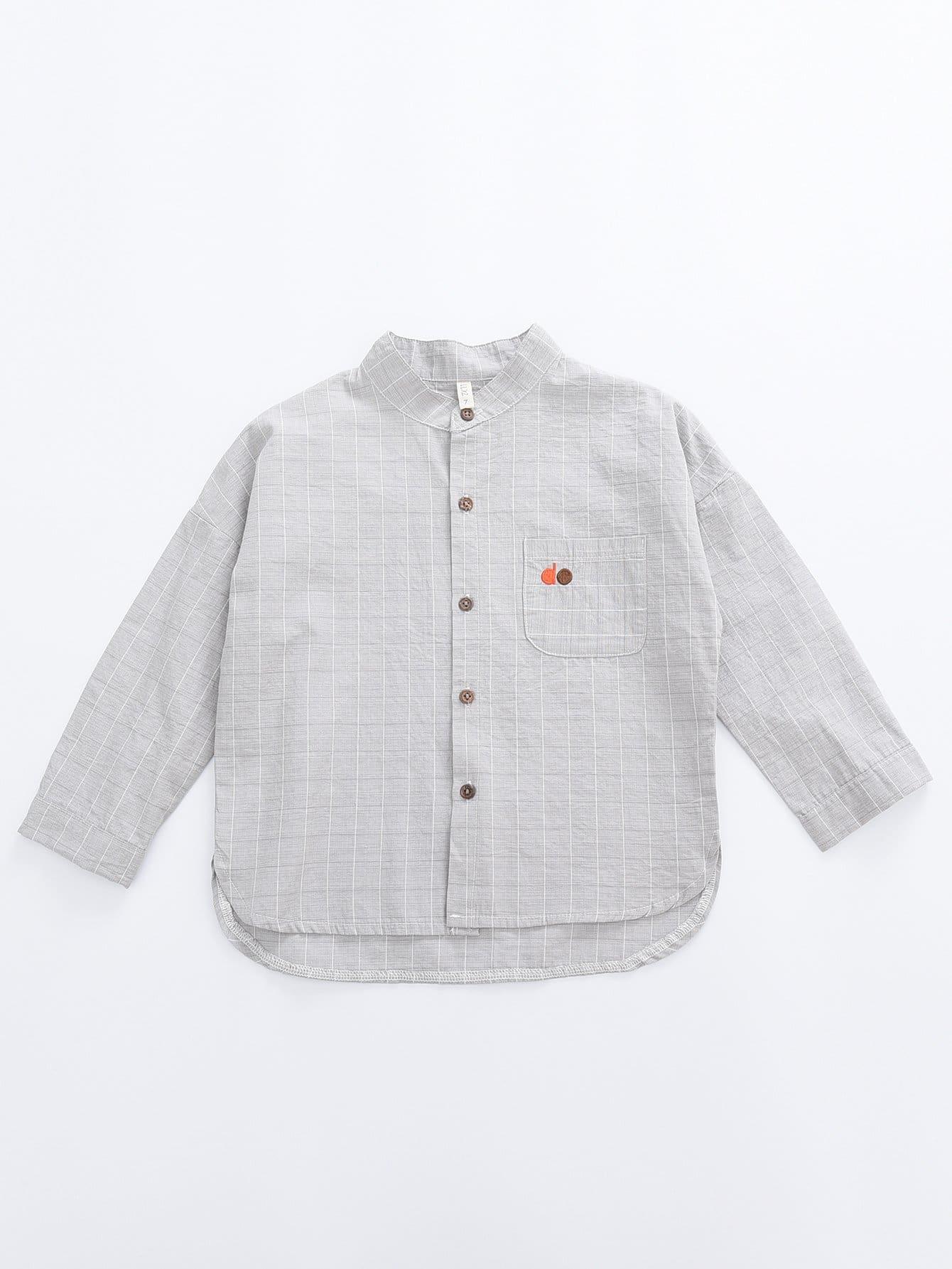 Мальчики Вышивкой Деталь С Асимметричным Подолом Клетчатой Рубашке