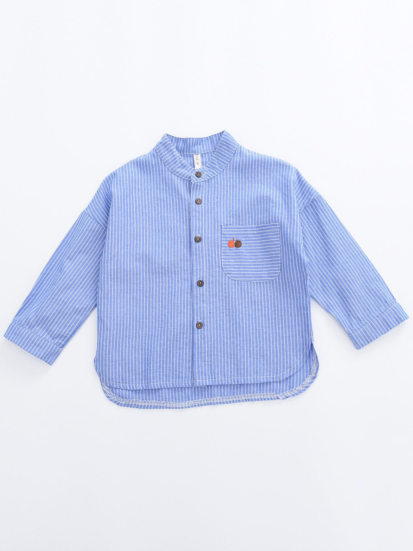 Boys Embroidery Detail Asymmetric Hem Striped Shirt