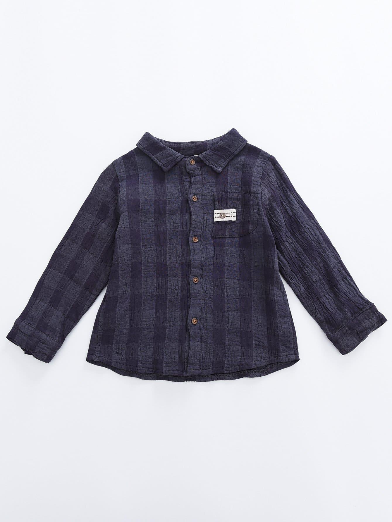 Мальчики С Карманом Клетчатую Рубашку