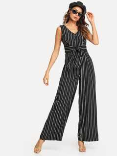 Button Front Knot Striped Shell Jumpsuit
