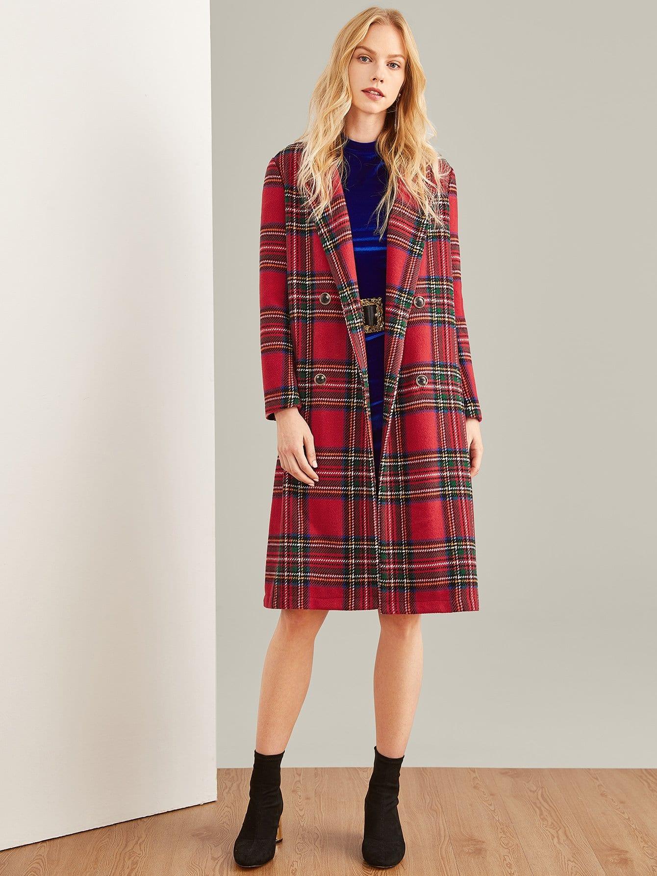 Двойное грудное пальто с длинным рукавом, Denisa, SheIn  - купить со скидкой
