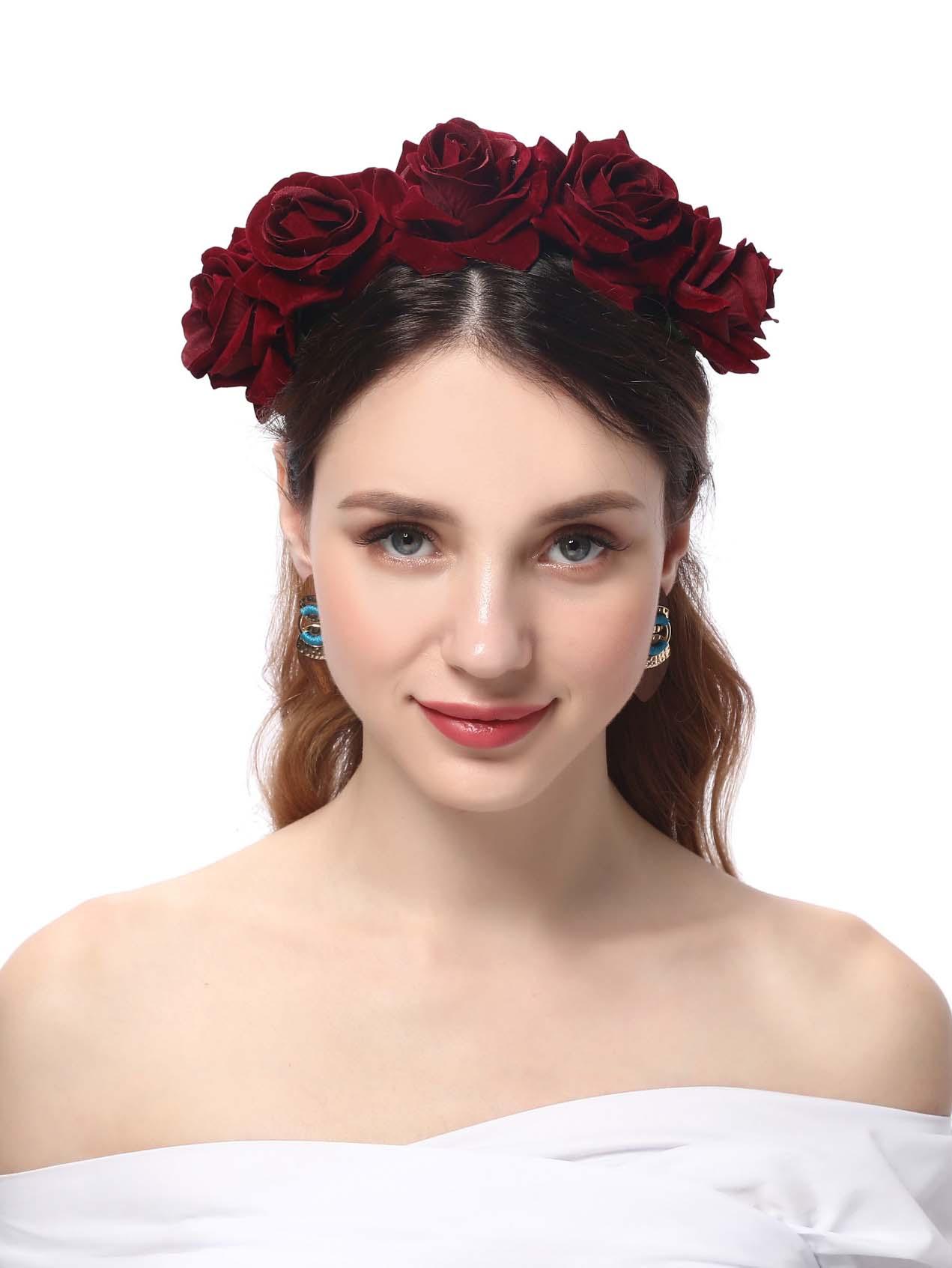 Купить Элегантный обруч бордовый цветок , null, SheIn