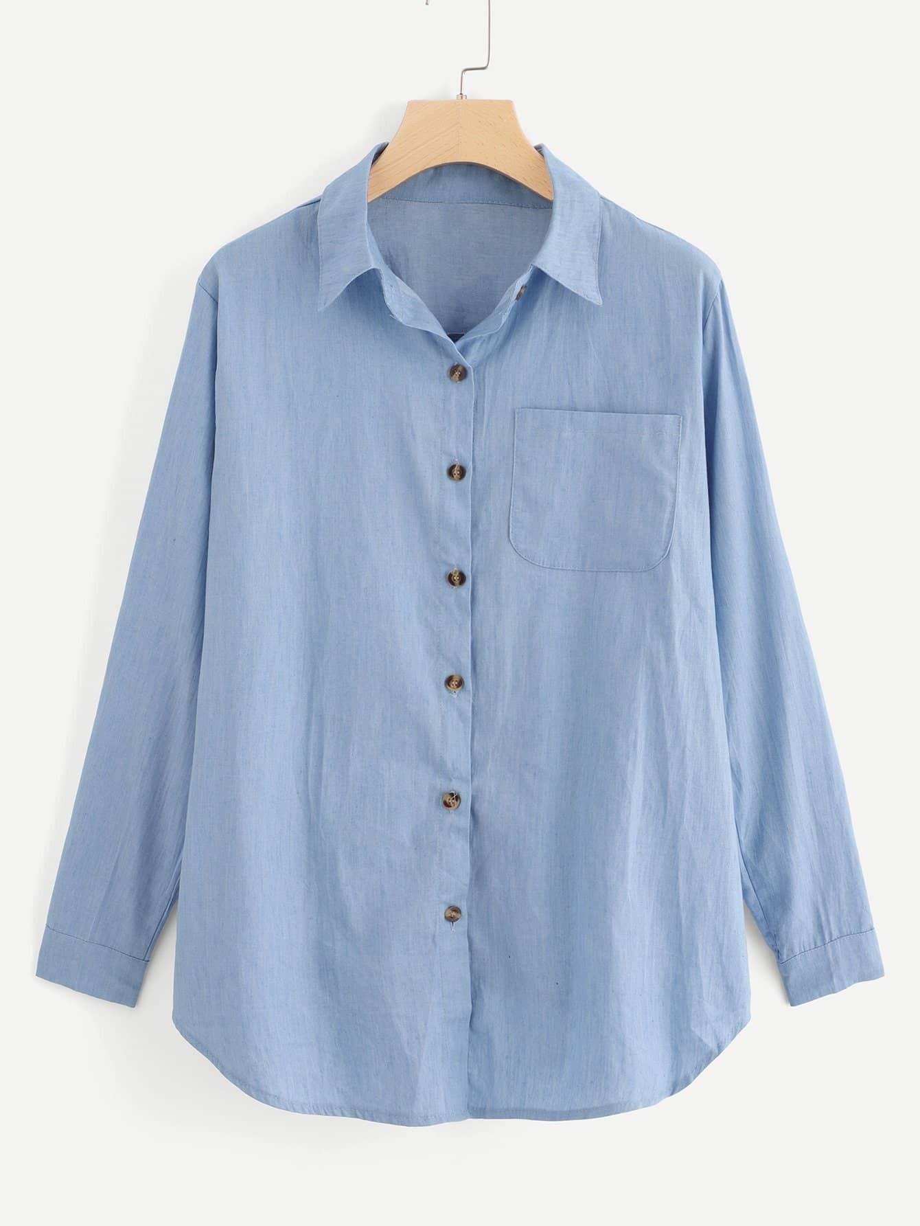 Купить Простая джинсовая блузка с украшением пуговицы перед одежды, null, SheIn