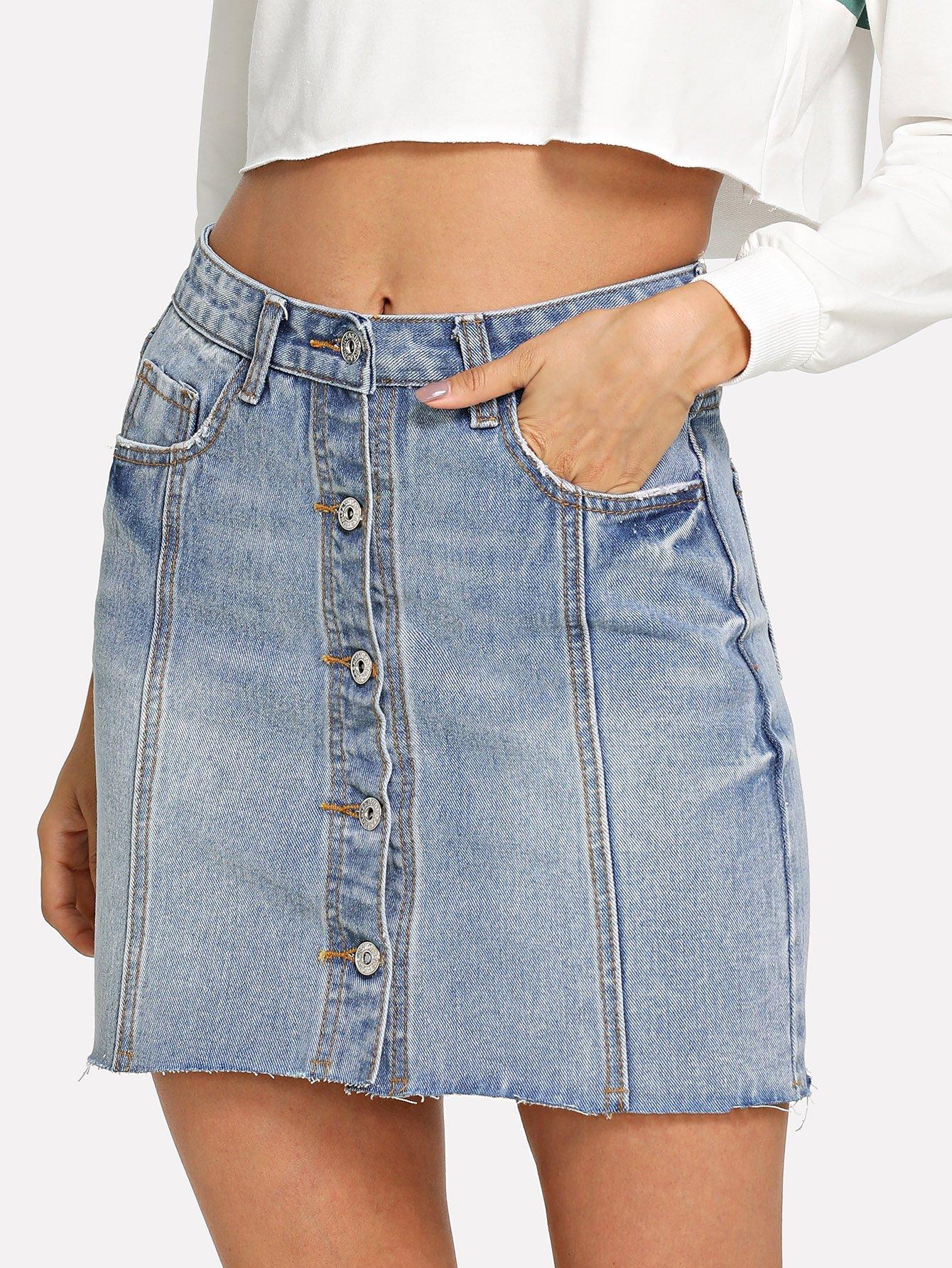 Купить Джинсовая юбка с украшением пуговицы, Andy, SheIn