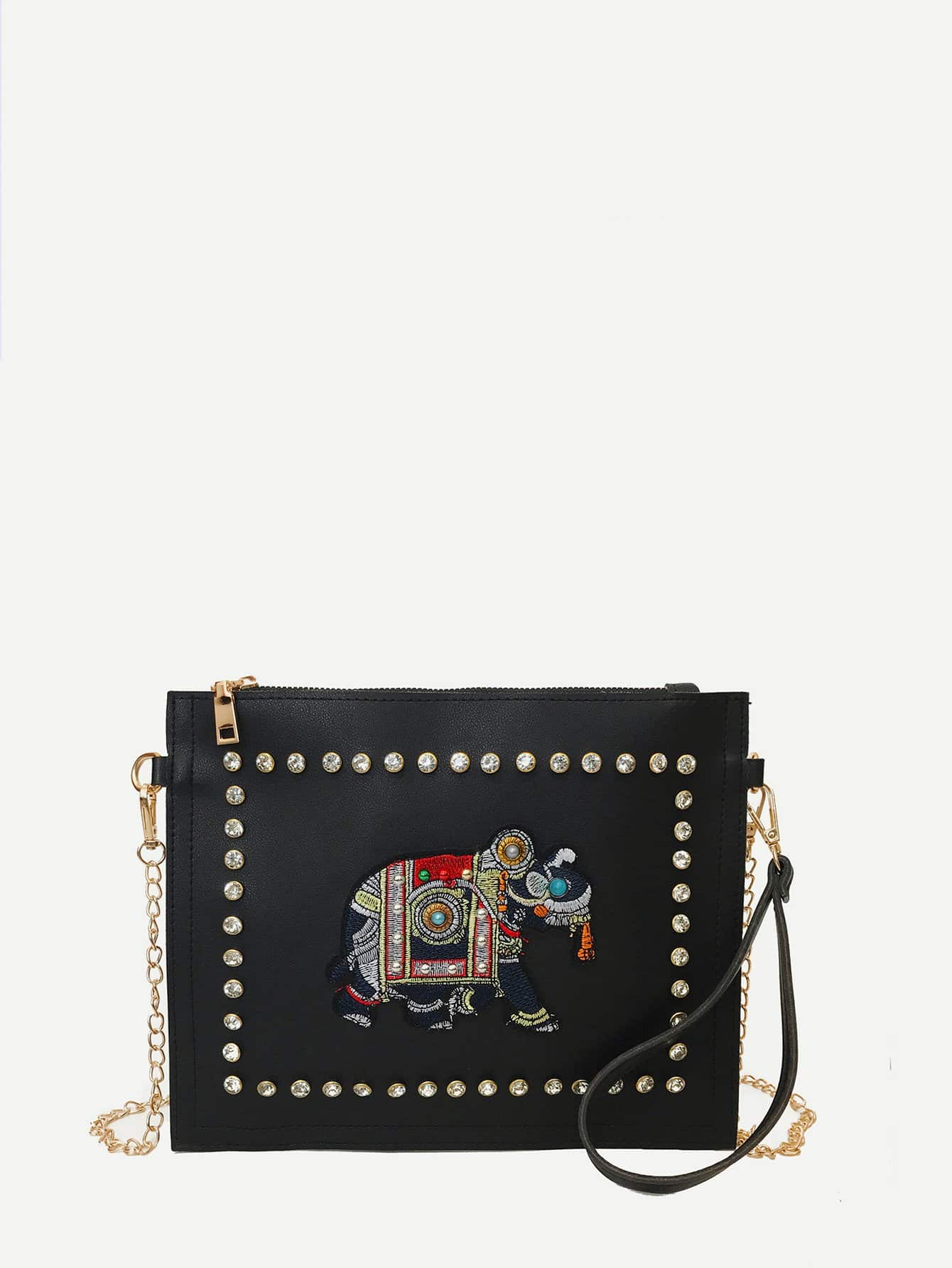 Elephant Embroidery Rhinestone Chain Bag