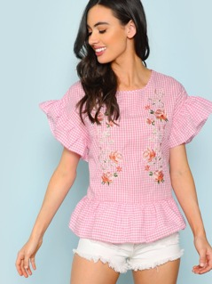 Flower Embroidery Gingham Ruffle Blouse