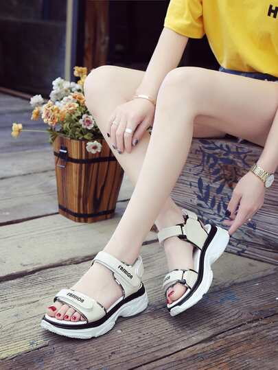 Romwe / Slogan Detail Open Toe Sandals
