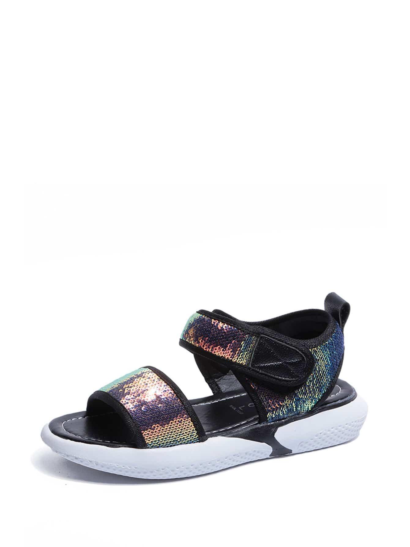 Sequins Decor Velcro Strap Sandals