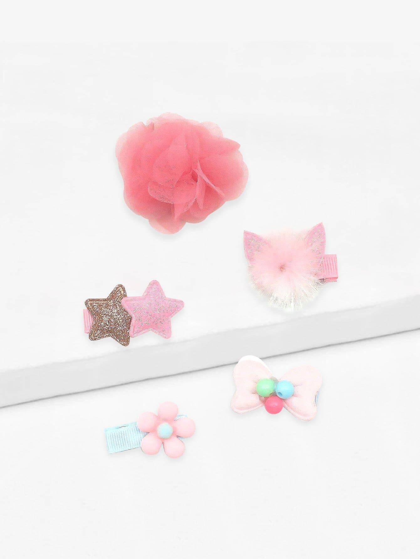 Купить Для девочек звезды и цветок заколки для волос 5 шт., null, SheIn