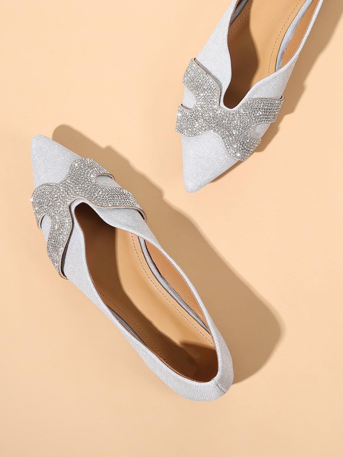 Купить Туфли на плоской подошве с украшением бриллиантов, null, SheIn