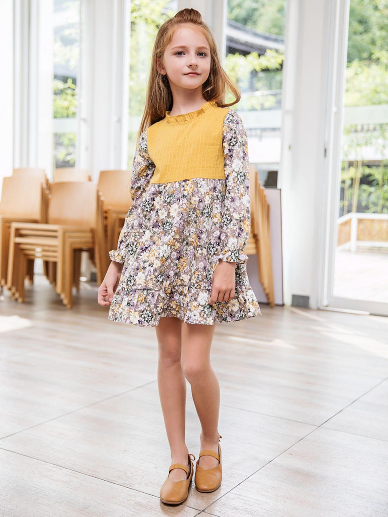 Girls Calico Print Ruffle Hem Dress