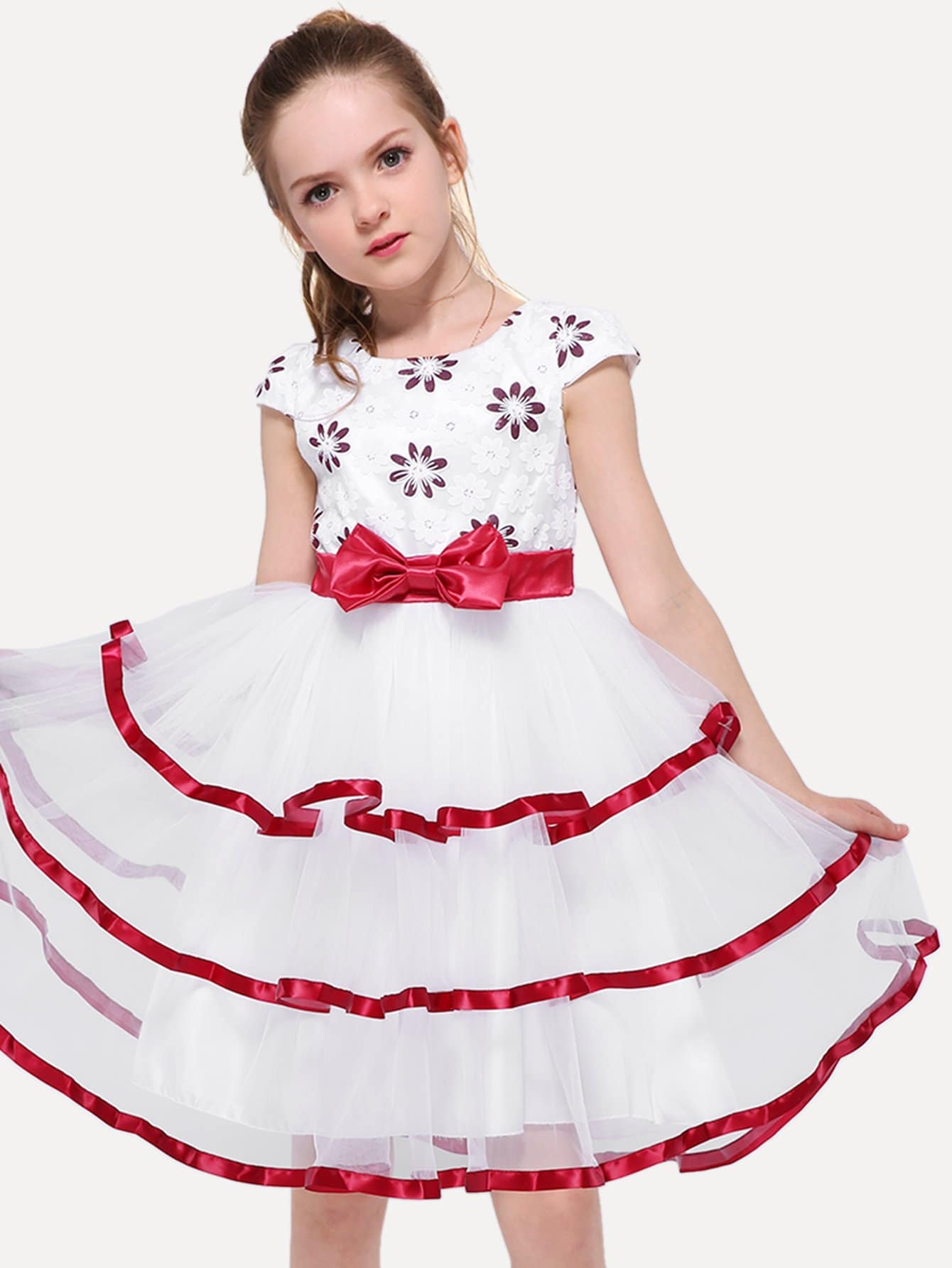 Girls Contrast Mesh Bow Detail Layered Dress