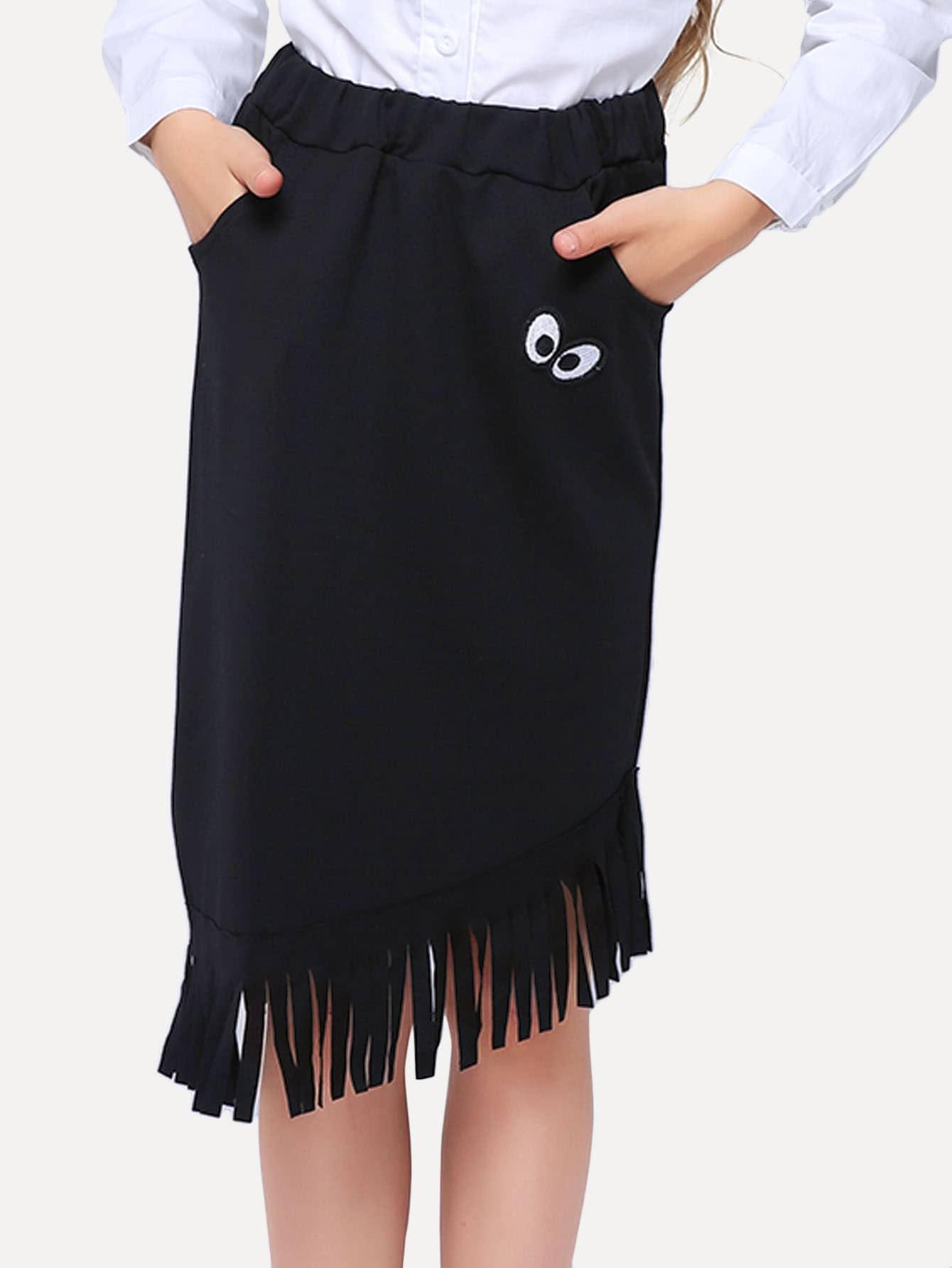 Купить Вышитая юбка и подол с кистью для девочки, null, SheIn